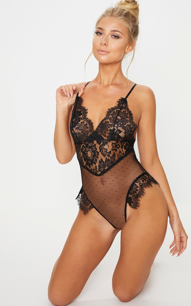 Black Lace Cup Dobby Mesh Body 5
