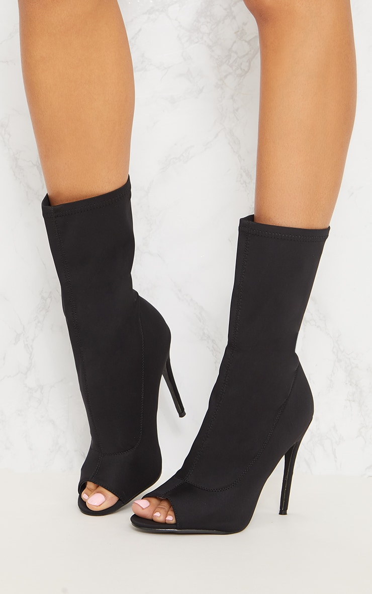 Black Lycra Peeptoe Sock Boot 3