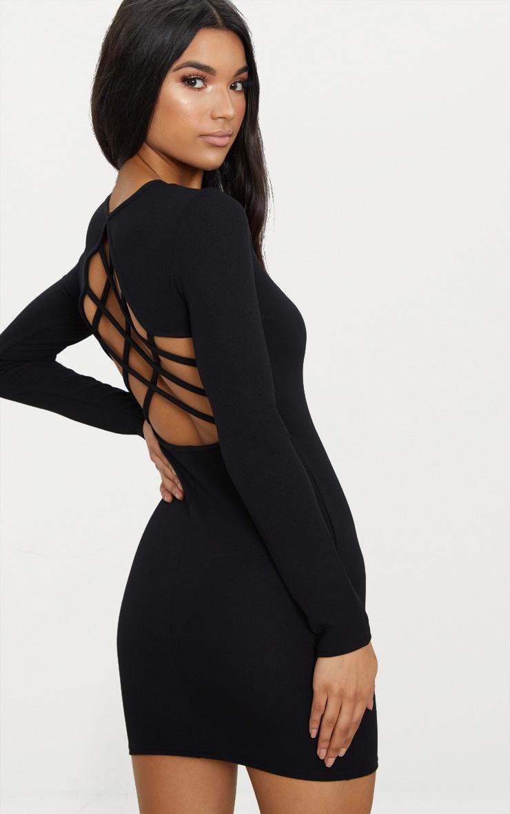 Black Cross Back Detail Long Sleeve Bodycon Dress 1