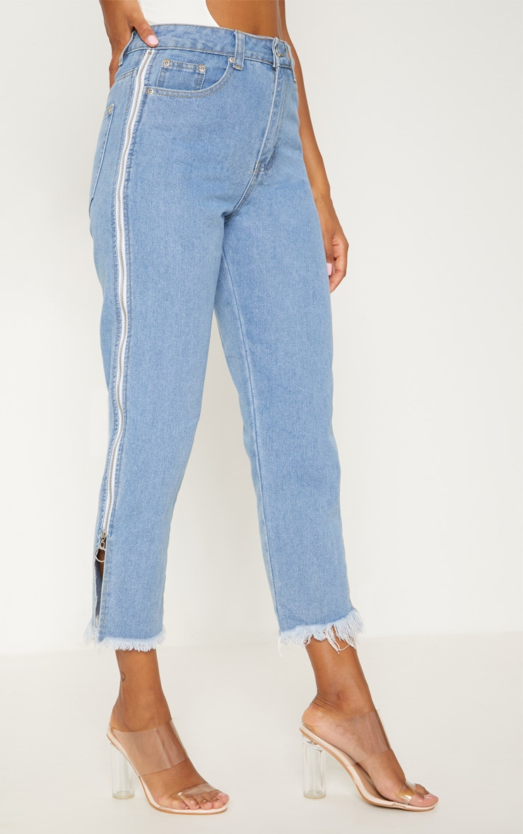 Mid Wash Side Zip Straight Leg Jeans  2