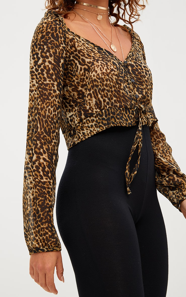 Tan Leopard Print Mesh Ruched Plunge Top 5