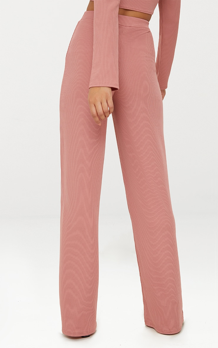 Blush Wide Leg Rib Trousers 4
