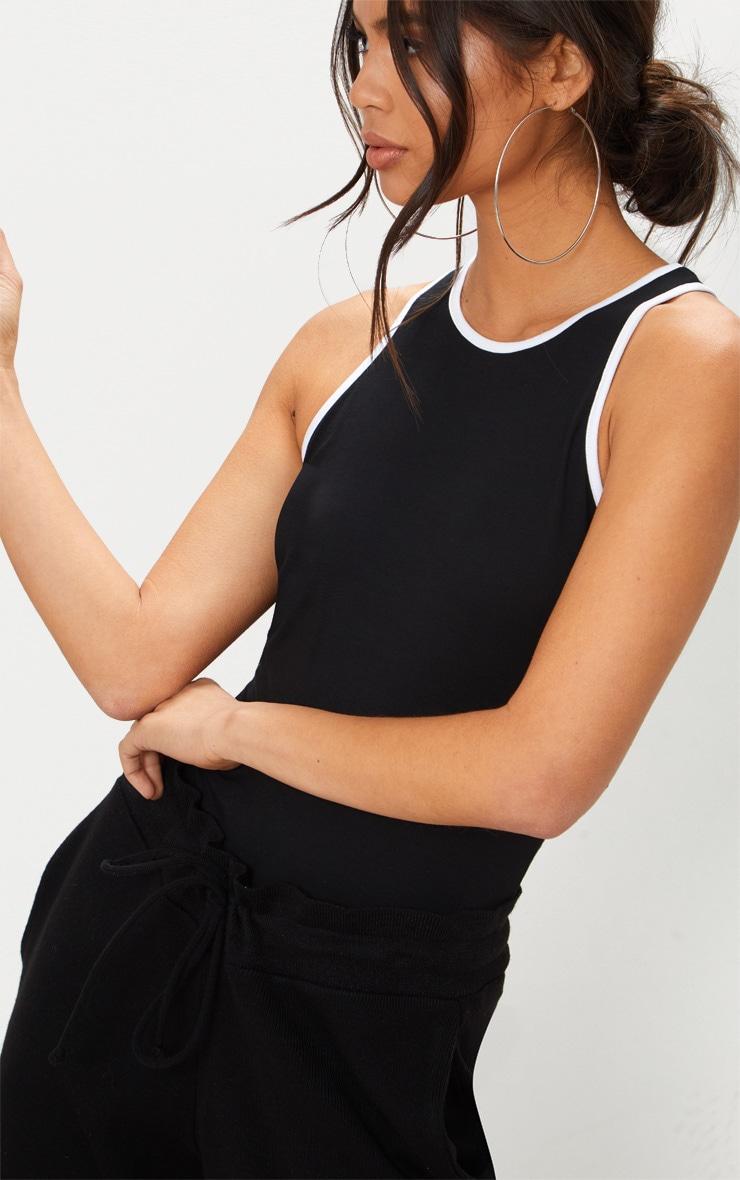 Black Contrast Piping Racer Back Thong Bodysuit 6