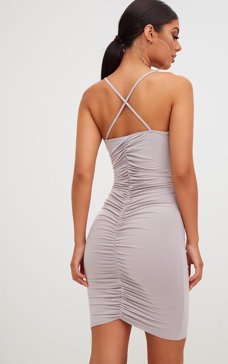 Ice Grey Slinky Ruched Strappy Bodycon Dress 2