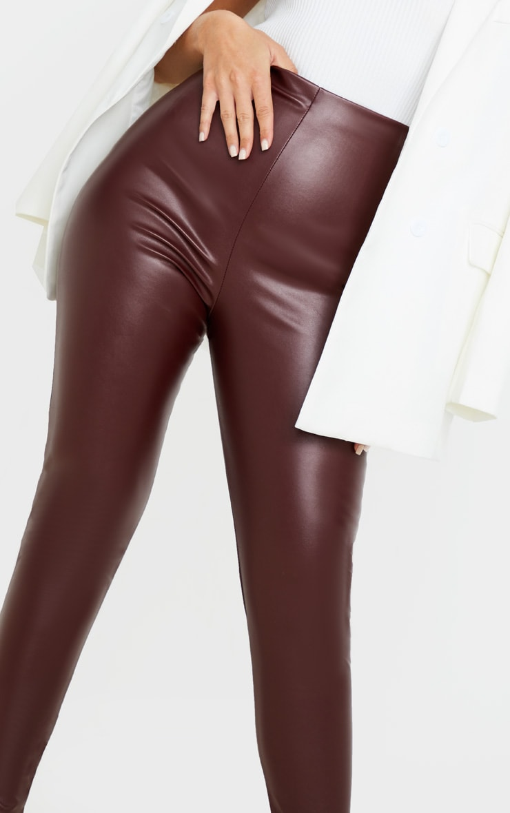 Burgundy Faux Leather High Waisted Legging  5