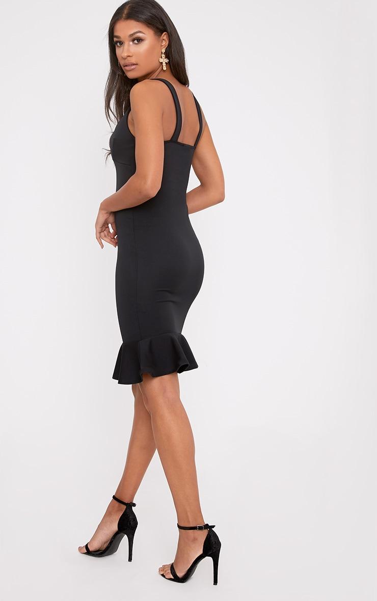 Mikaela Black Plunge Frill Hem Midi Dress 2