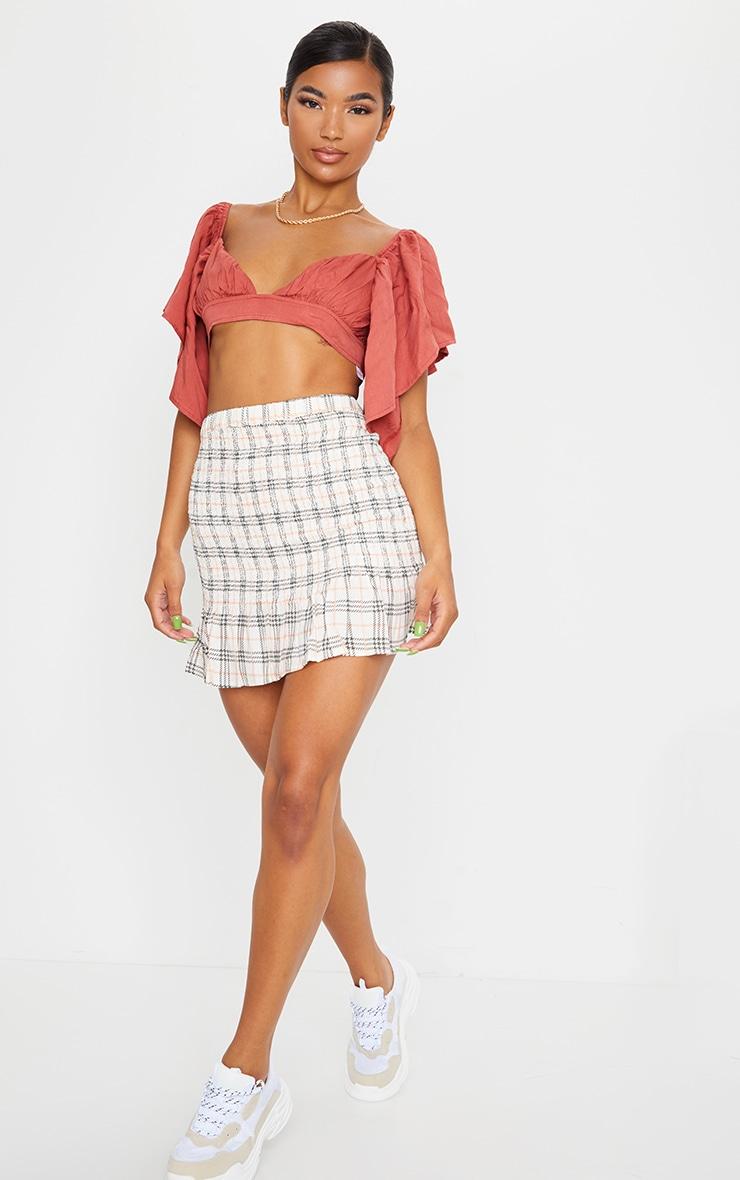 Stone Check Print Shirred Frill Hem Skirt 4