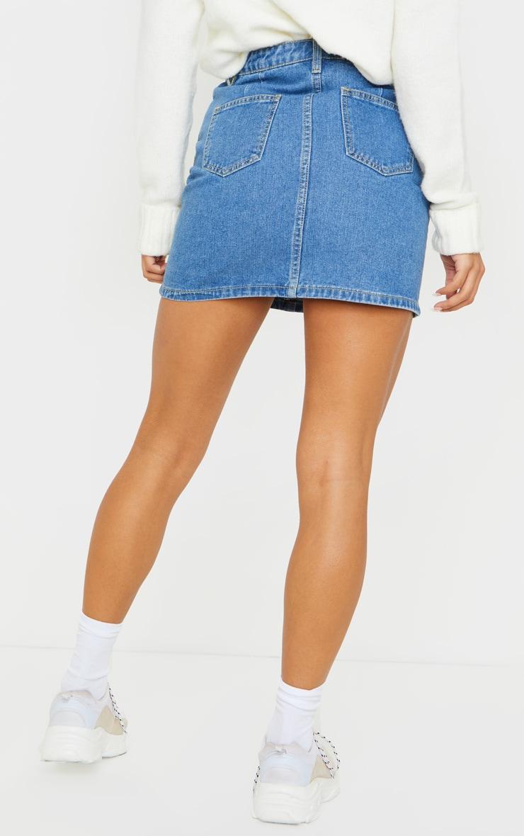 Mid Blue Wash Button Waist Skirt 3