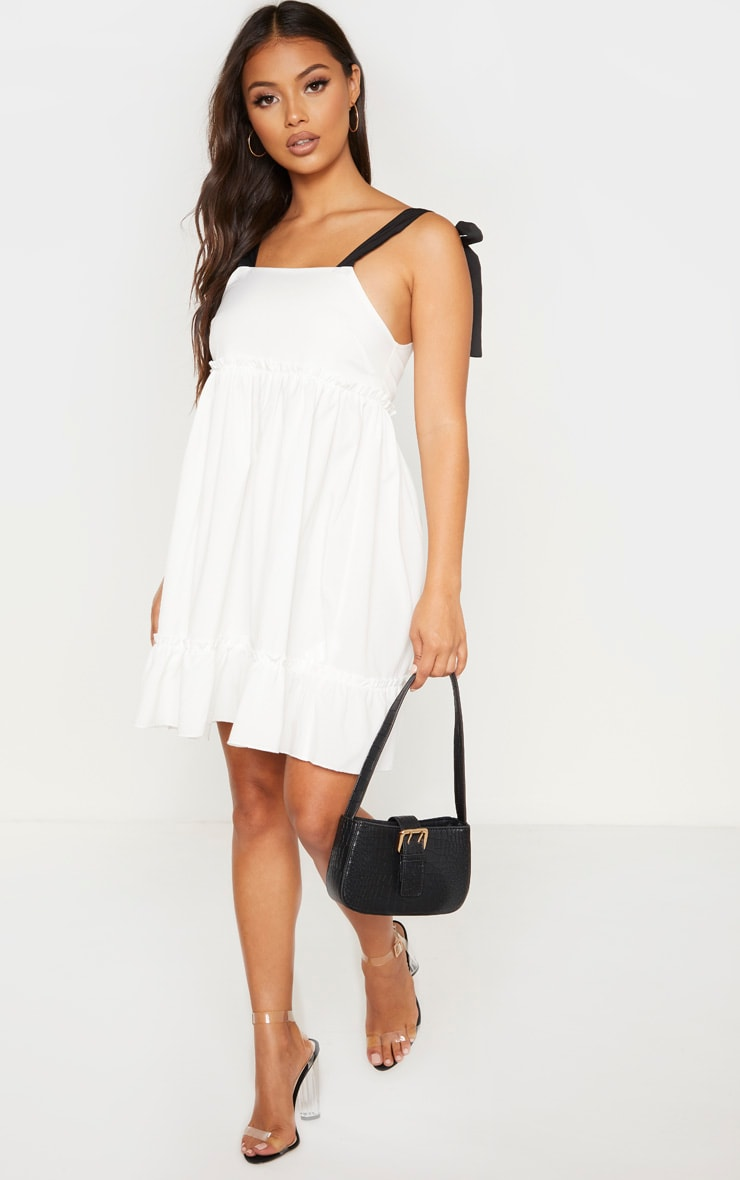 Petite White Tier Contrast Tie Straps Dress 3