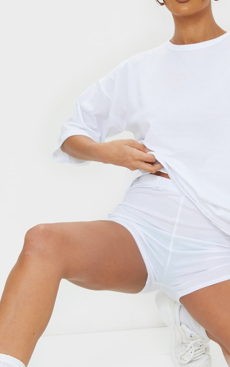 White Cotton Oversized T-Shirt & Hot Pants Set 4