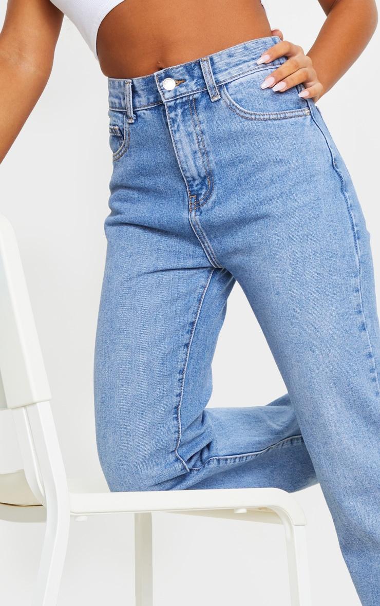 Mid Blue Wash Long Straight Leg Raw Hem Jeans 4