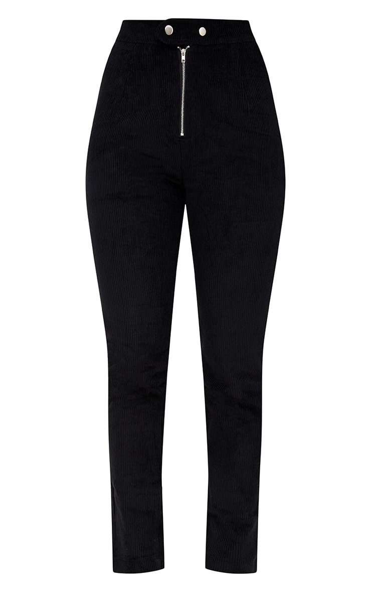 Black Cord Zip Front Trousers 3