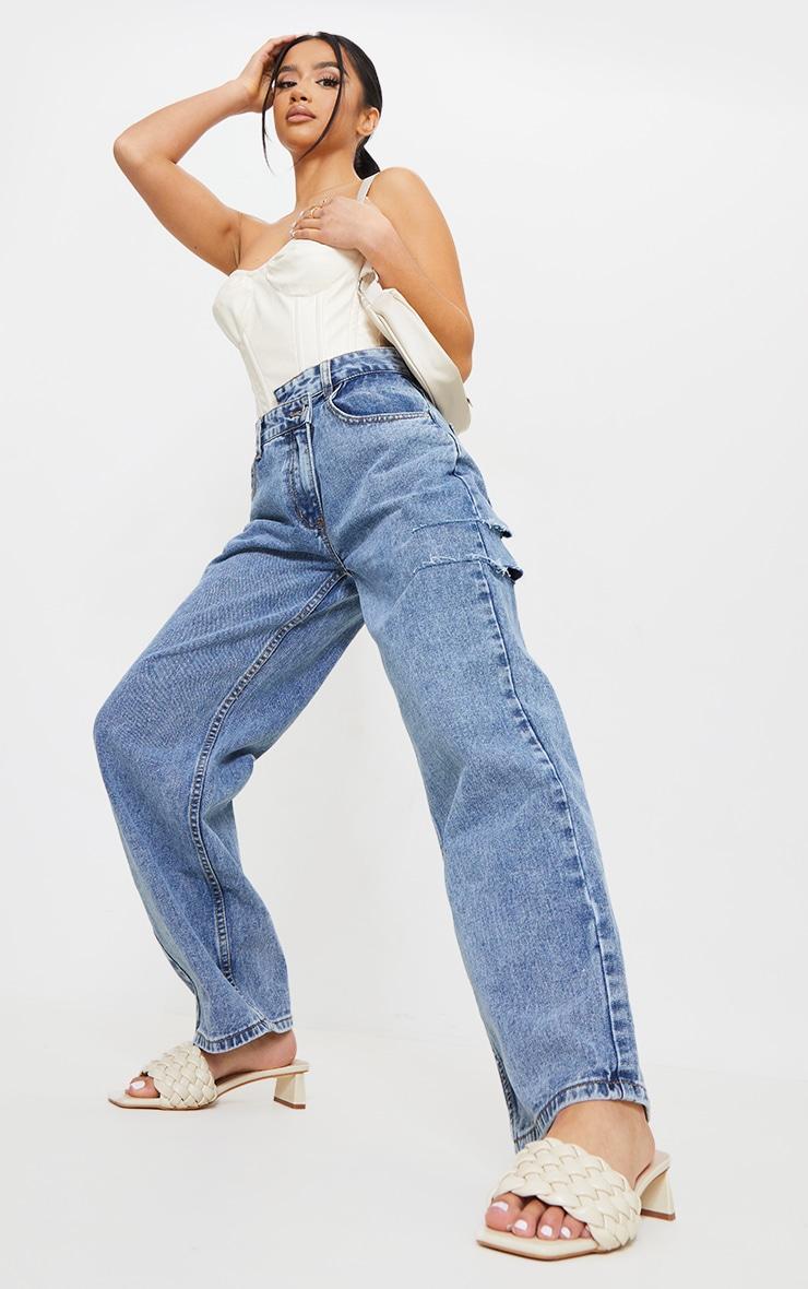 Petite Vintage Wash Baggy Low Rise Asymmetric Waistband Thigh Split Boyfriend Jeans 1