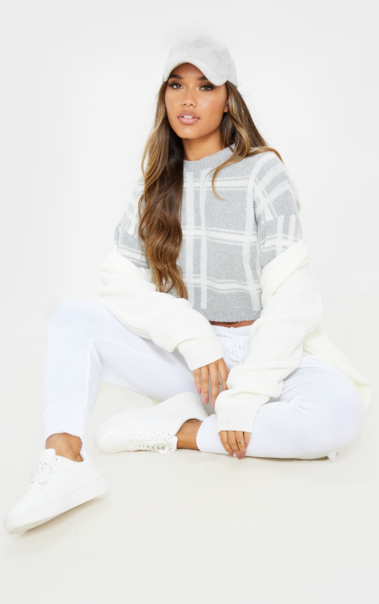 Grey Check Boucle Cropped Jumper 4