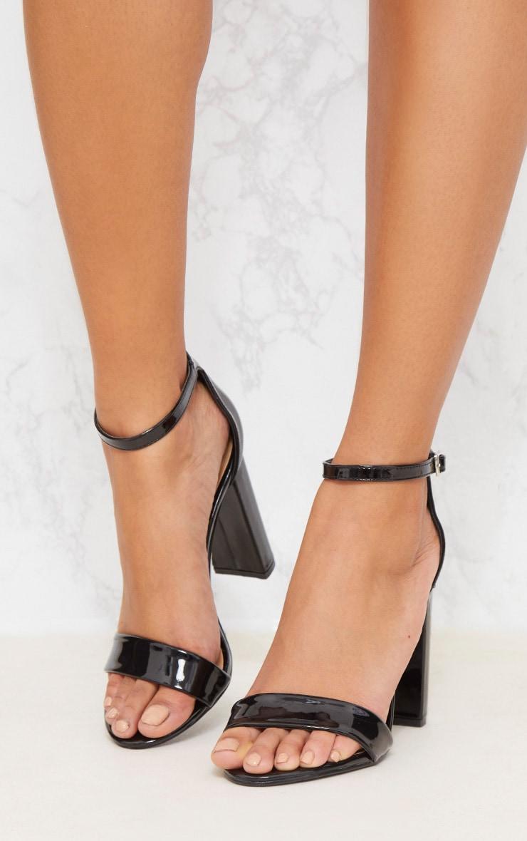 Black Patent Block Heel Strappy Sandal 2