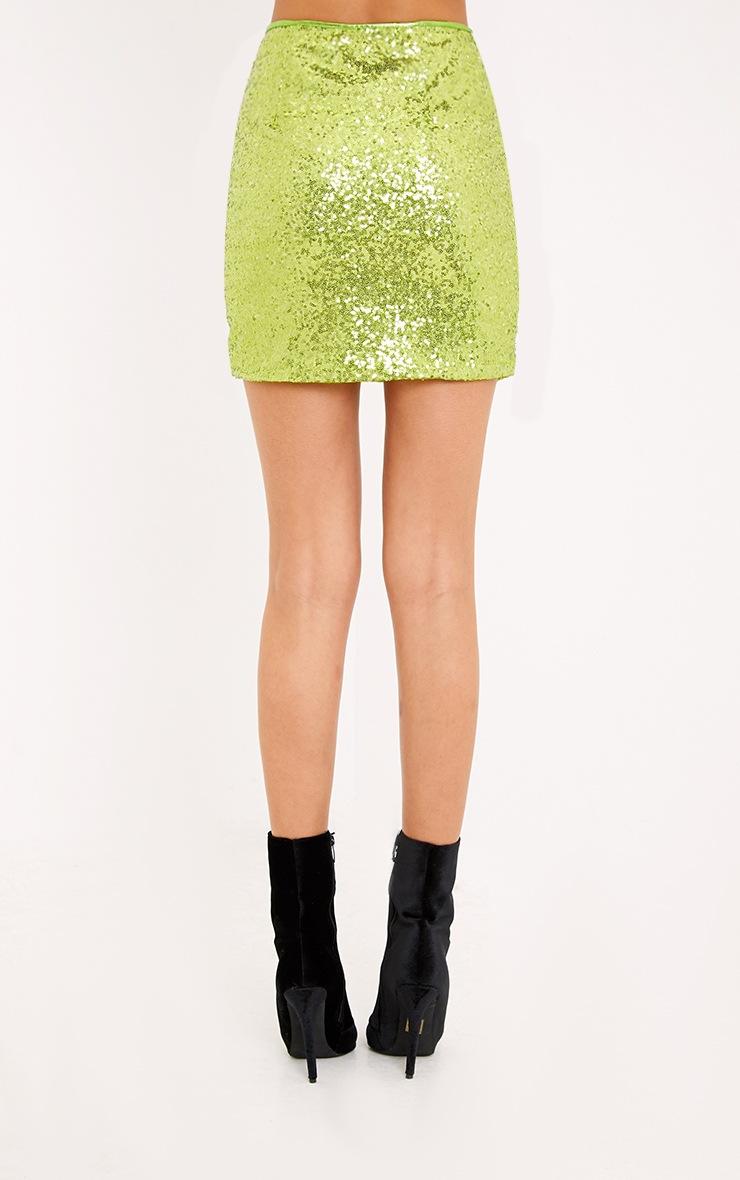Laniyah Lime Sequin Mini Skirt 4