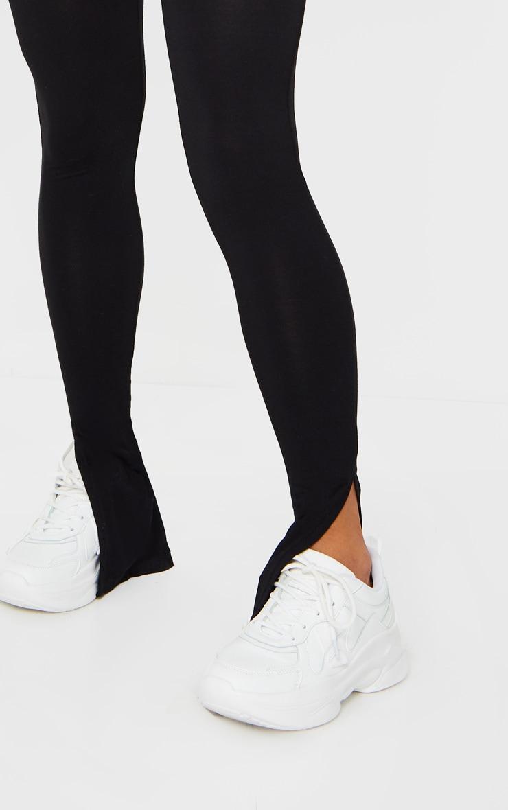 Black Basic Jersey Split Hem Leggings 4