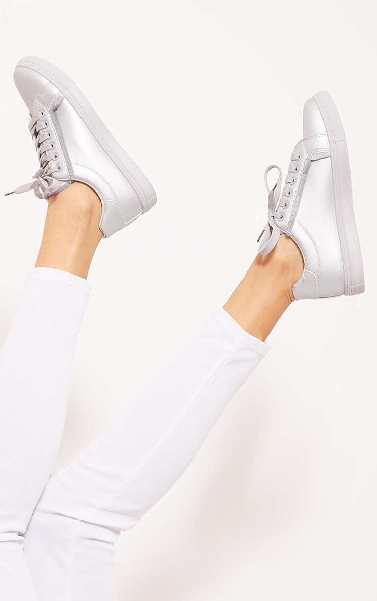 Silver Frayed Edge Lace Up Trainer