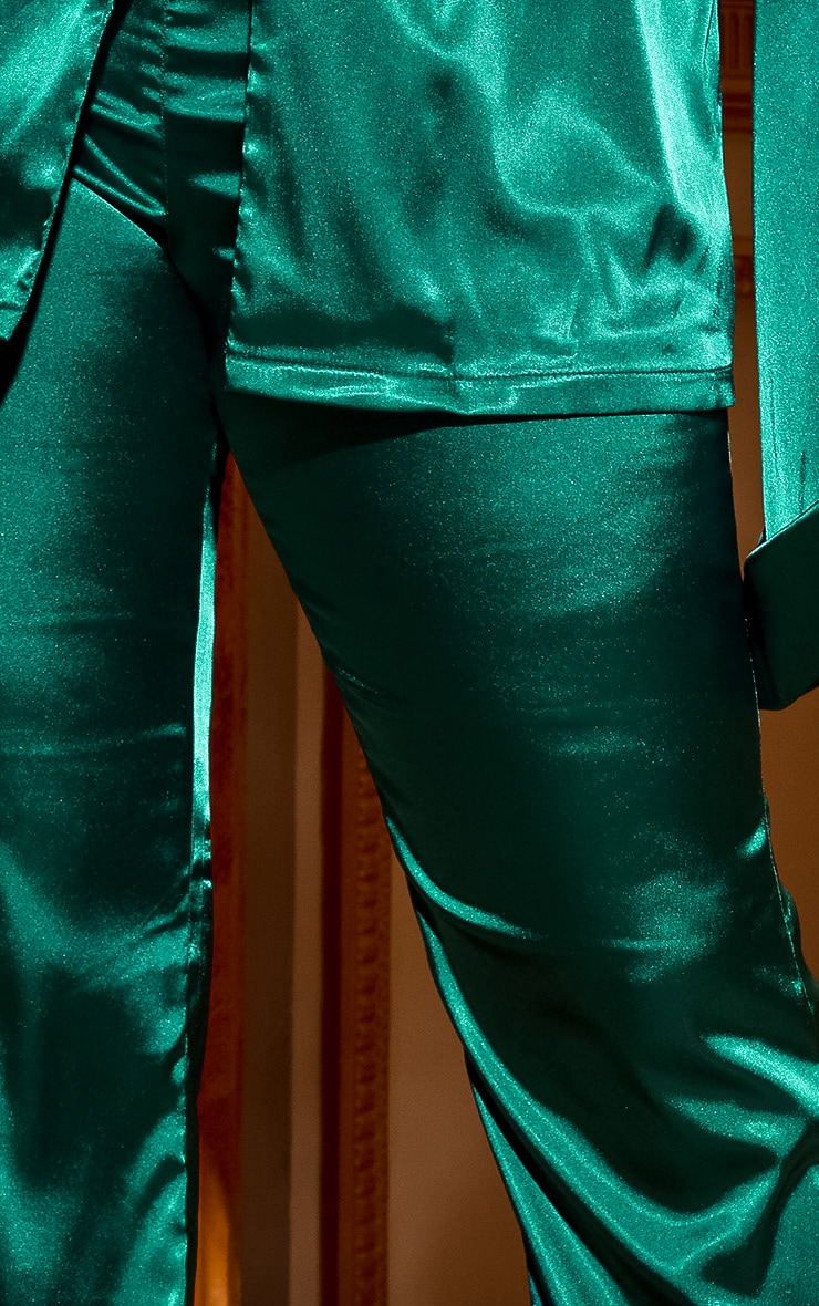 Plus Emerald Green Satin Wide Leg Trouser 6