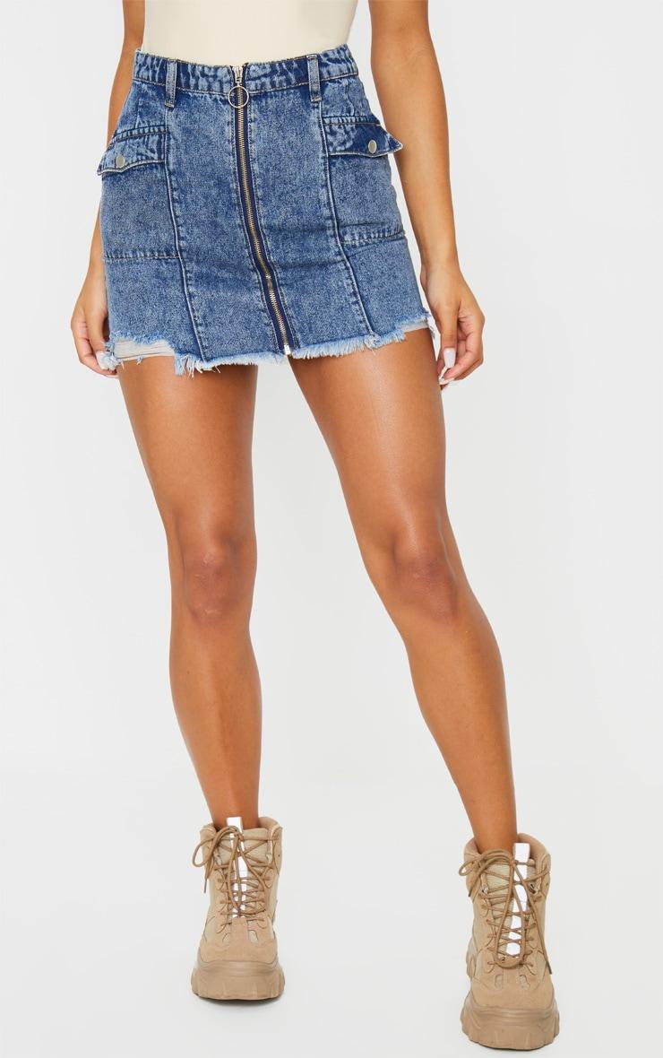 Blue Snow Wash Zip Through Double Pocket Denim Skirt 2