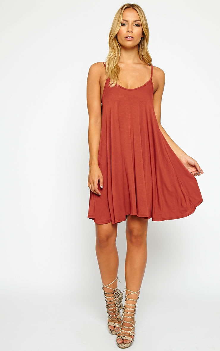 Basic Rust Strappy Jersey Swing Dress 3