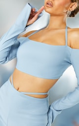 Light Blue Stretch Woven Halterneck Bardot Crop Top 4