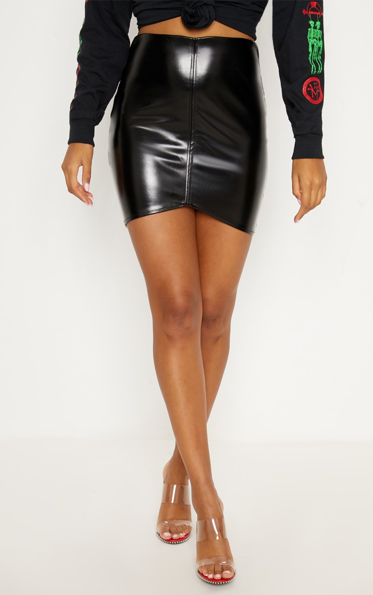 Bekka Black Faux Leather Asymmetric Panel Mini Skirt 2
