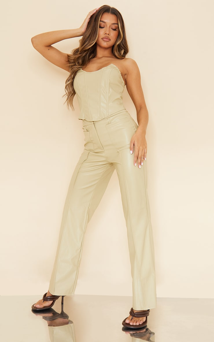 Olive Faux Leather Pocket Front Straight Leg Pants 1