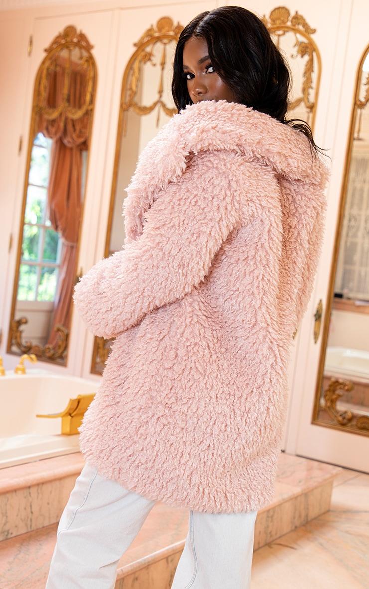 Pink Teddy Faux Fur Coat   2