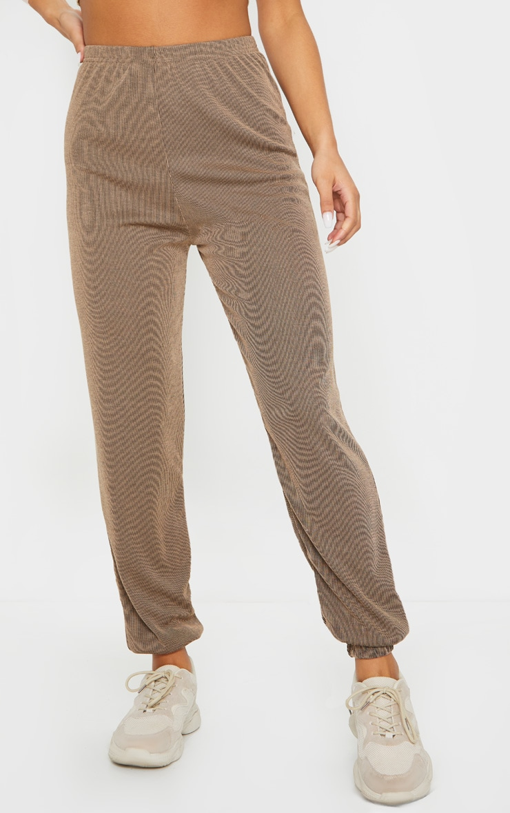 Camel Contrast Ribbed Casual Joggers 2
