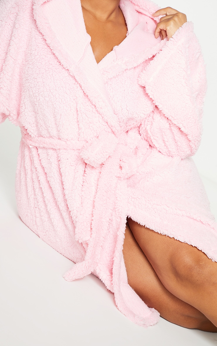 Plus Pink Borg Dressing Gown 4
