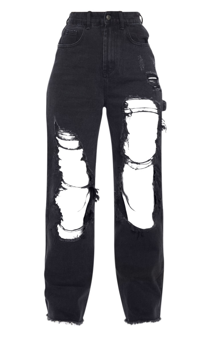 Washed Black Open Thigh Baggy Jeans 3
