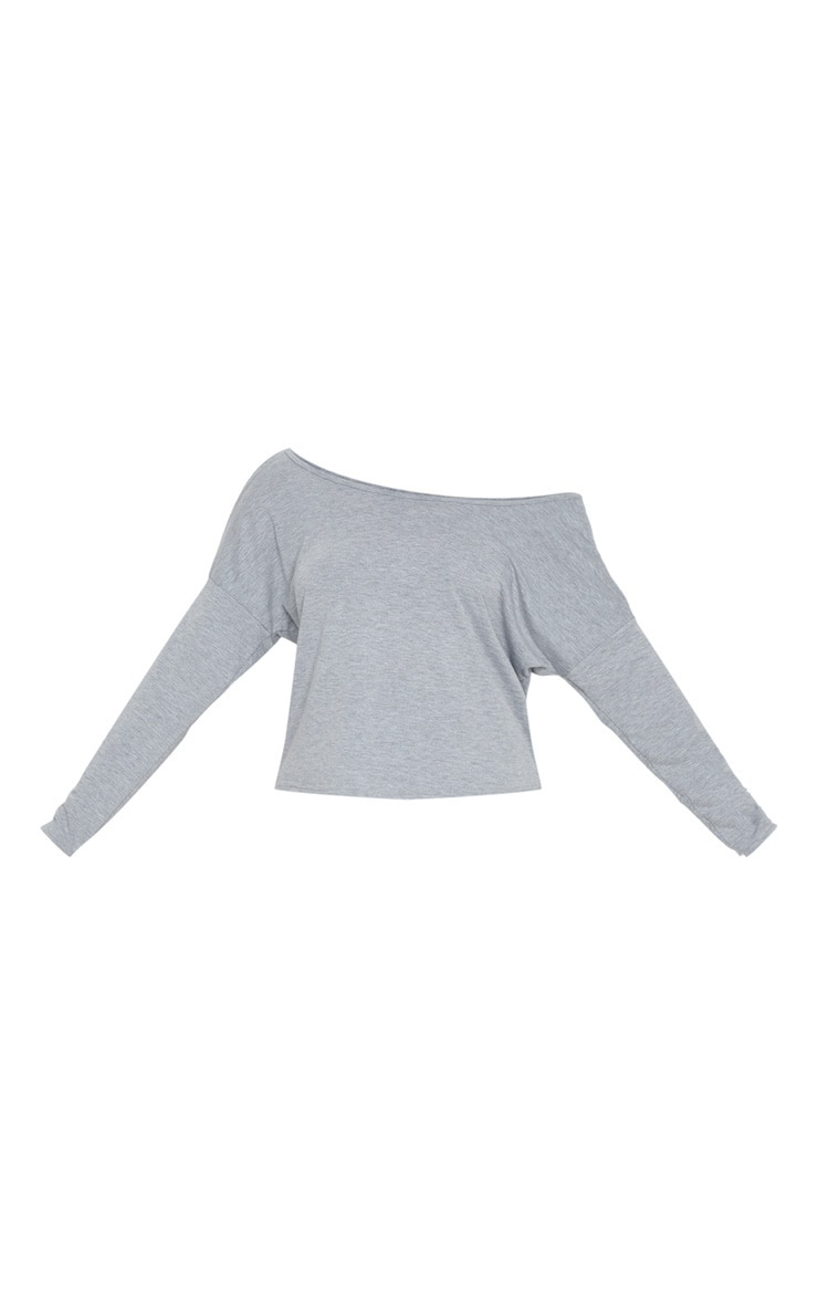 Grey Marl Jersey Off The Shoulder T Shirt 3