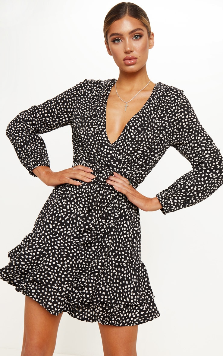 Black Dalmatian Print Wrap Long Sleeve Tea Dress 1