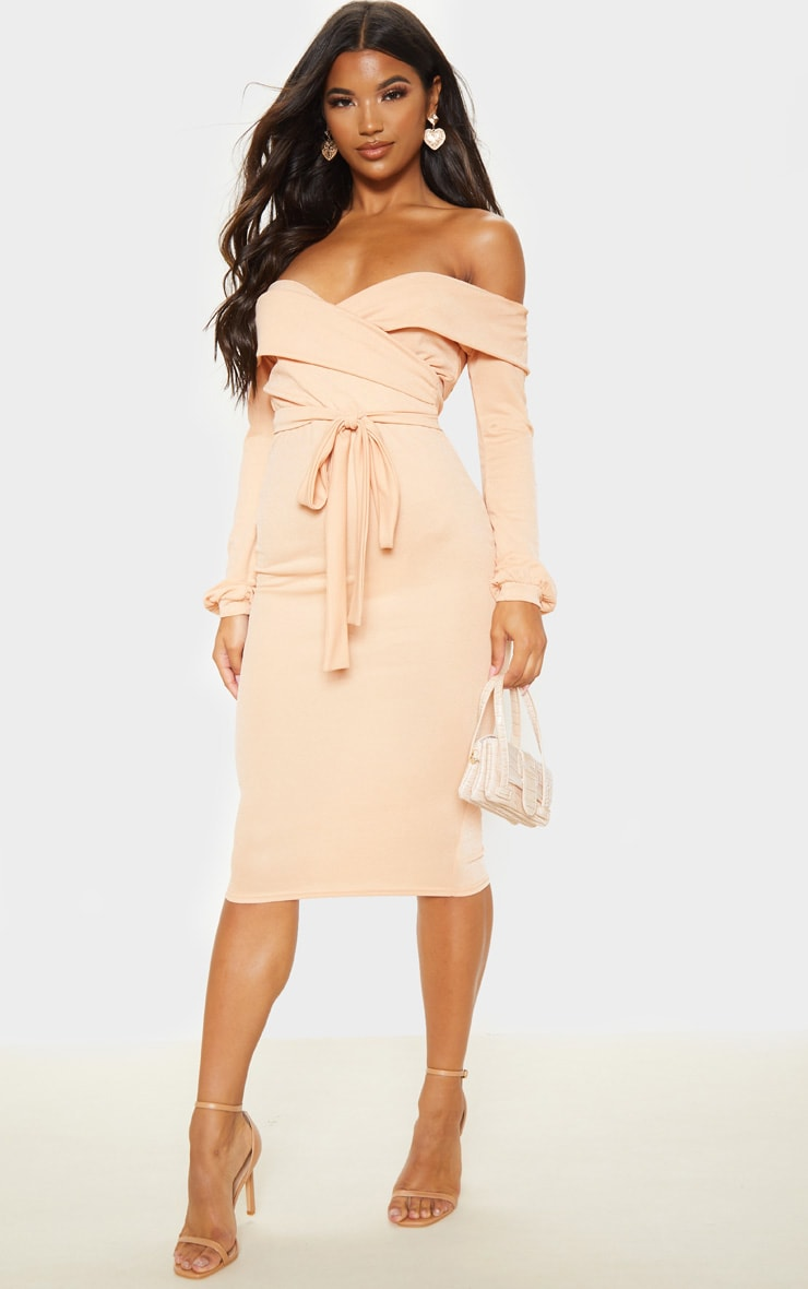 Fawn Long Sleeve Wrap Bardot Midi Dress 1