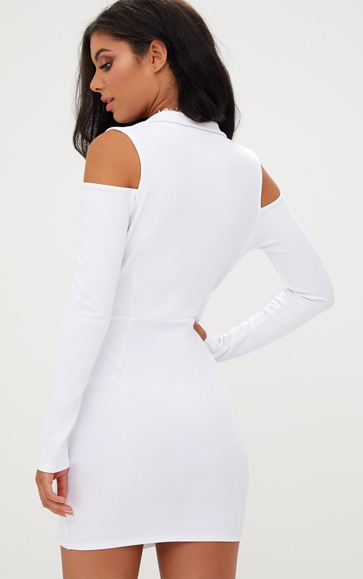 White Cold Shoulder Blazer Dress 2