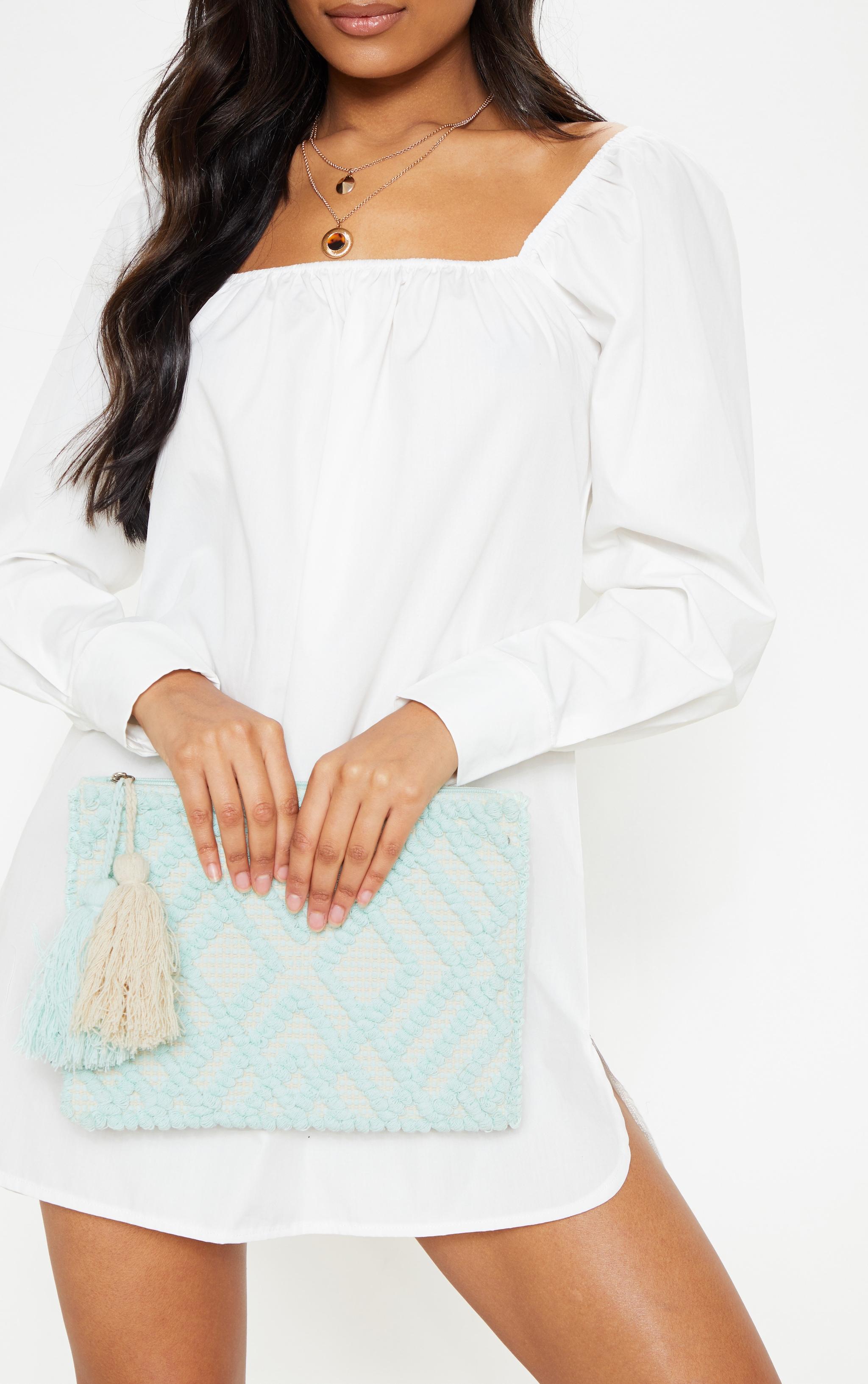 Mint Cotton Tassel Detail Clutch Bag 1
