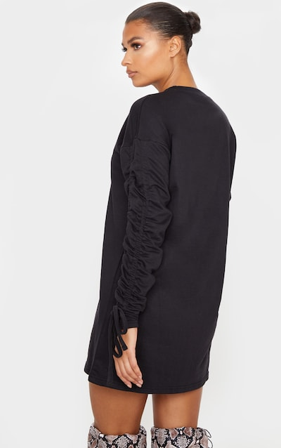 Black Ruched Sleeve Detail Long Sleeve Jumper Dress