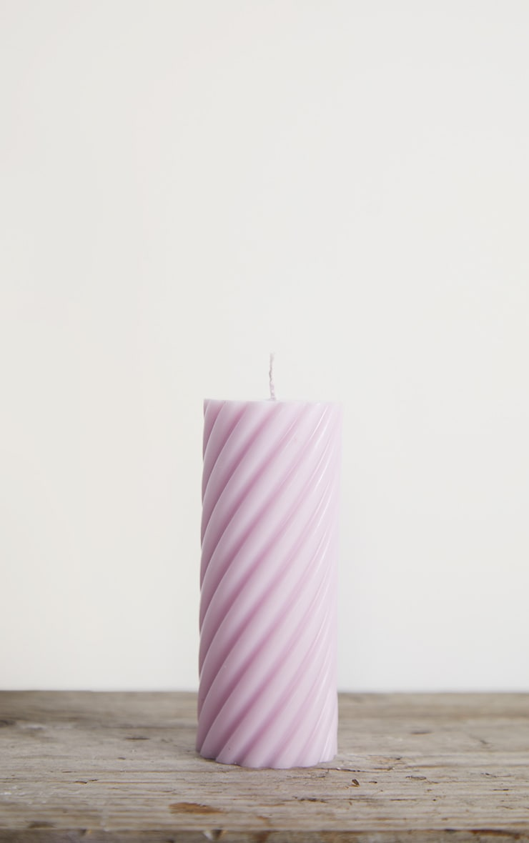 Lilac Swirl Pillar Scented Soy Wax Candle 12cm 5