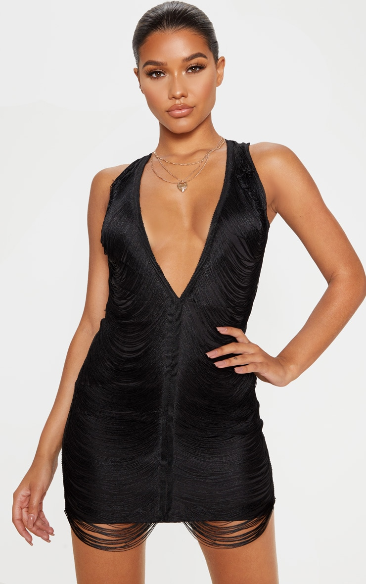 Black Extreme Plunge Tassel Bodycon Dress 1