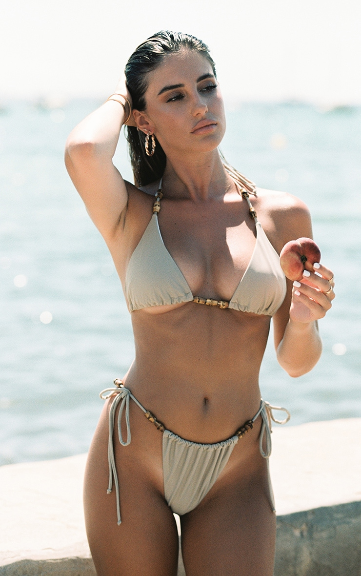 Sand Wooden Bead Triangle Bikini Top 2