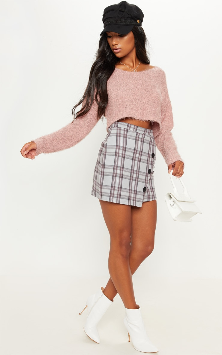 Pink Cropped Oversized Eyelash Jumper 4