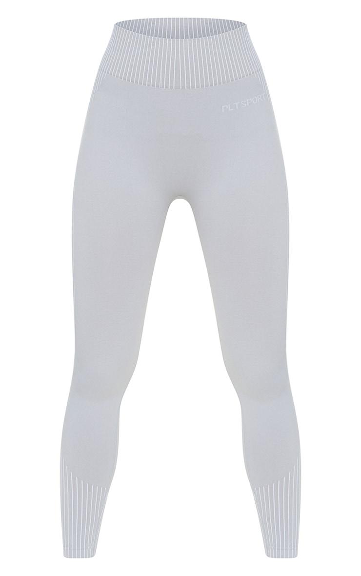 PRETTYLITTLETHING Light Grey Seamless Contour Gym Leggings 5