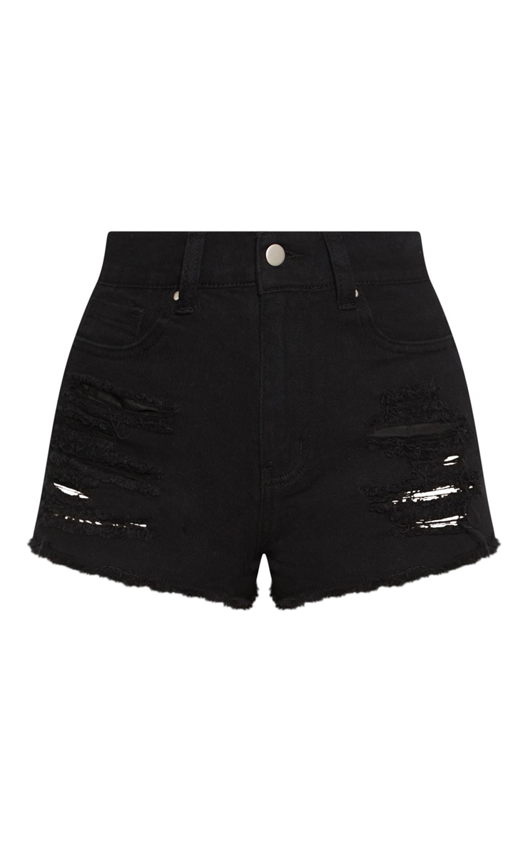 Wash Black Ripped Denim Hot Pants 3