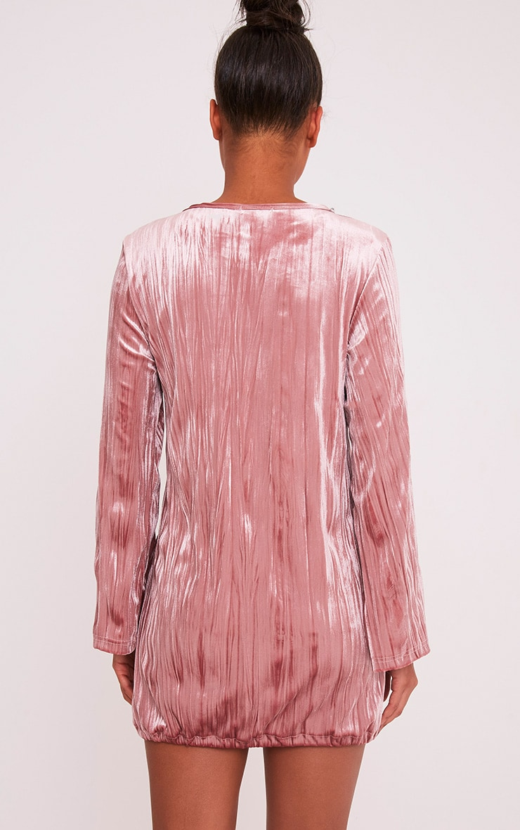 Ailsah Dusty Pink Textured Velvet Bell Sleeve Shift Dress 2