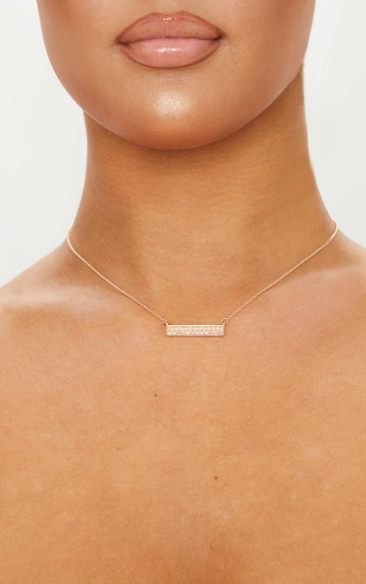 Gold Diamante Bar Charm Necklace 2