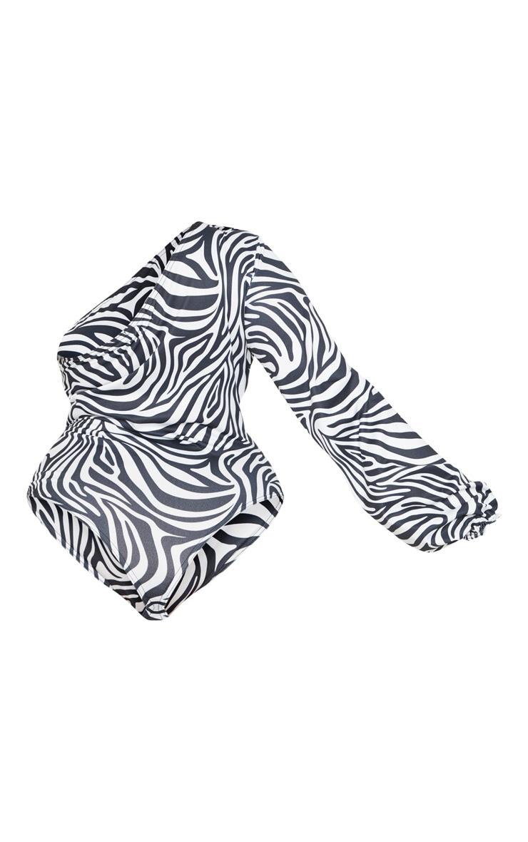 Plus White Zebra Print One Shoulder Printed Bodysuit 4