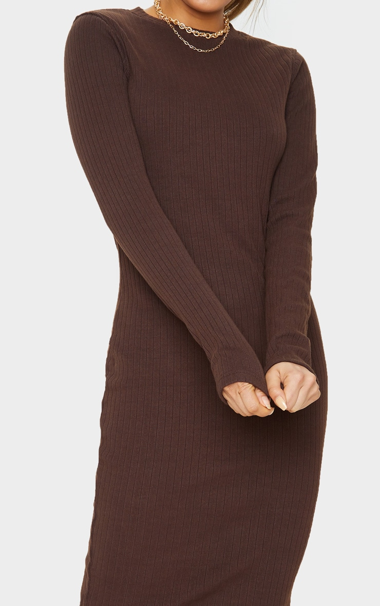 Tall Chocolate Brown Knitted Long Sleeve Midi Dress 5