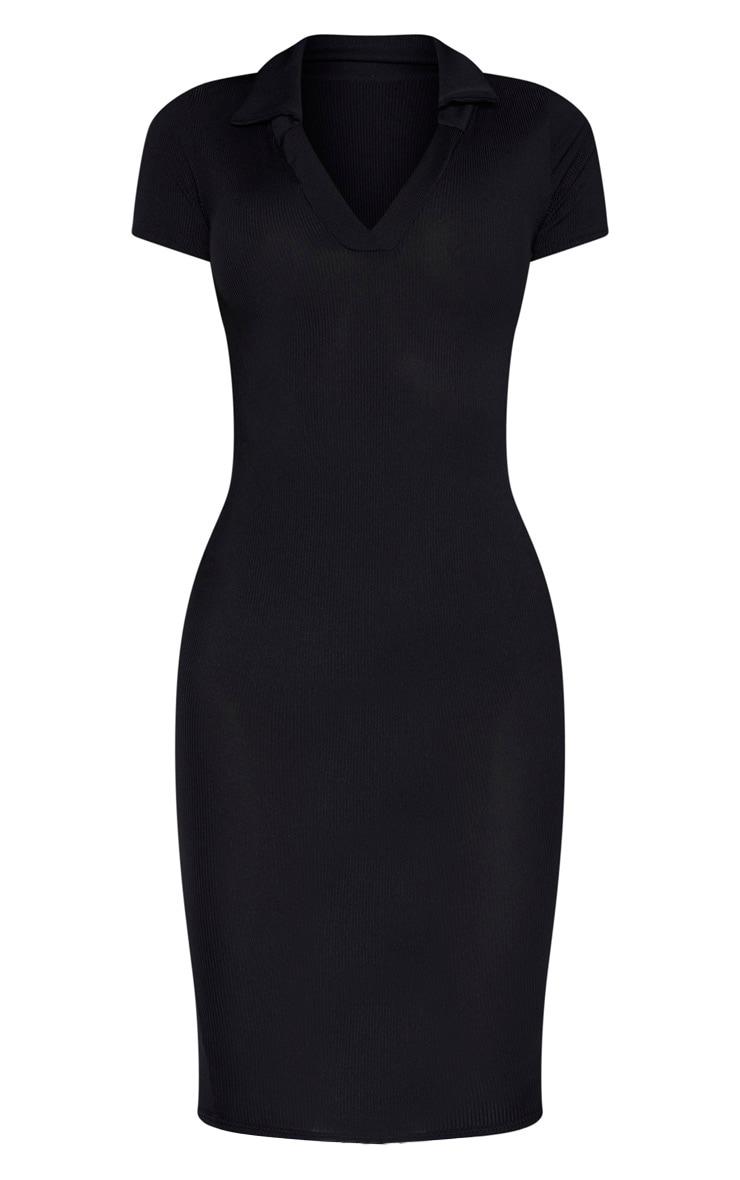 Tall Black Ribbed Polo Midi Dress 3