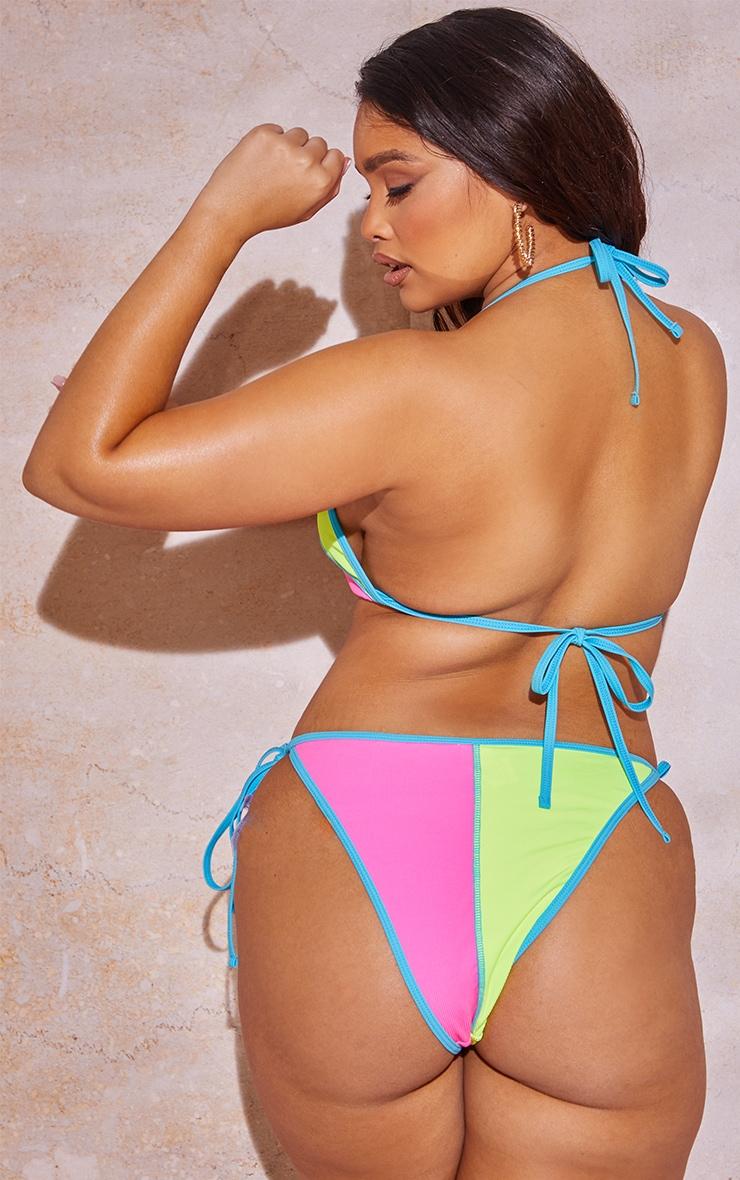 Plus Neon Stripe Triangle Bikini Top 2